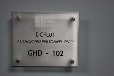 Door sign inside newest data center
