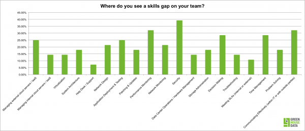 Skills gaps on IT teams as reported by professionals