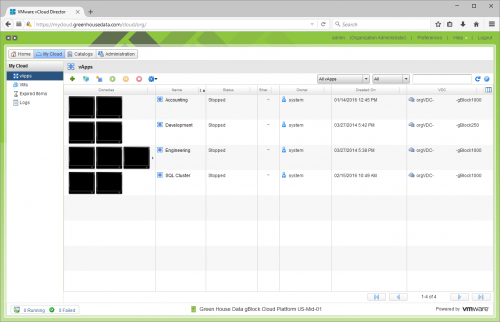 VMware's vCloud Director Suite home screen