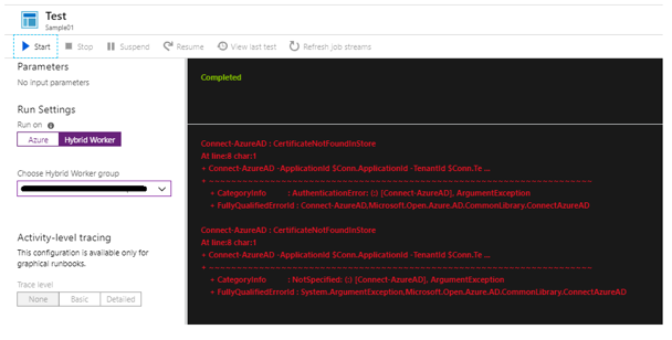 azure connection certificate on local hybrid worker