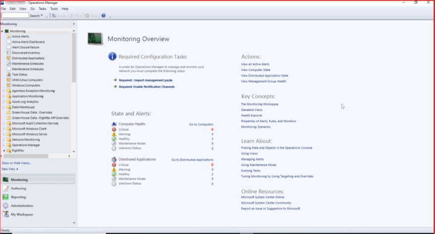SCOM 2019 monitoring tab