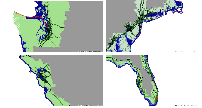 sea level rise overlaid with internet connectivity infrastructure from a recent study