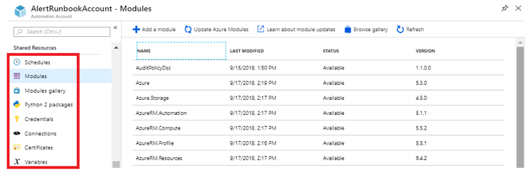 azure automation shared powershell modules